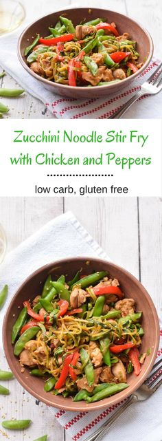 "#Ad Zucchini Noodle Stir Fry with Chicken and Peppers!  A simple and flavorful stir fry that is low carb and gluten free.  Easy to make and packed with nutrients! Repin for a chance to see a similar meal in your freezer aisle"" to all of the posts {gluten free, low carb} @smartmade0201 @AOL_Lifestyle SmartMade Inspired By You"