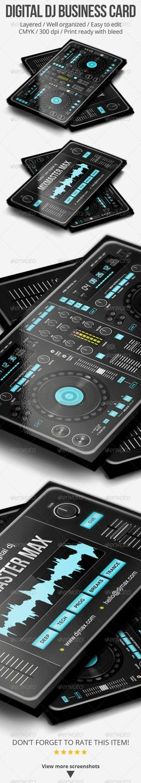 Digital DJ Business Card Template PSD. Download here: http://graphicriver.net/item/digital-dj-business-card/5187245?s_rank=100&ref=yinkira