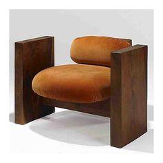 """Jeffrey Greene | Walnut lounge chair | c1970s #jeffreygreene #design"""