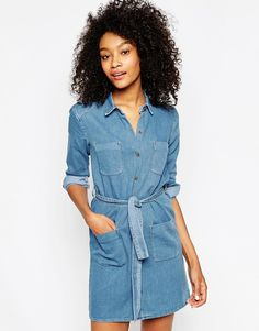 ASOS Denim Belted Shirt Dress $63 love the simplicity