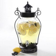 Gibson Home Quartzite 1.32 gal Glass Drink Dispenser with Metal Base and Glass #Gibson