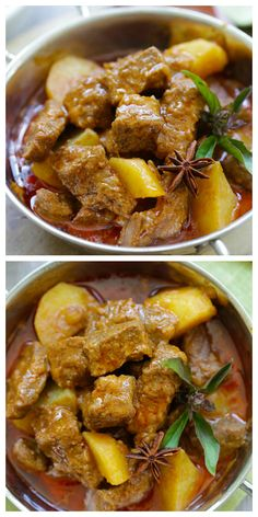 Massaman curry is a popular Thai curry. This Beef Massaman Curry is made with beef, coconut milk, potatoes and peanuts. Easy and authentic homemade recipe! Pork And Apple Recipe, Pork Curry Recipe, Curry Recipes, Pork Recipes, Chicken Massaman Curry, Beef Curry, Indian Food Recipes, Asian Recipes, Thai Recipes
