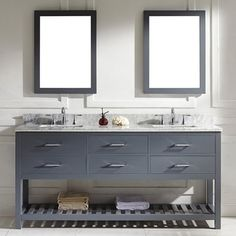 Virtu USA Caroline Estate 72-inch Grey Square Double Sink Italian White Carrara Marble Vanity Set - Free Shipping Today - Overstock.com - 16212981 - Mobile