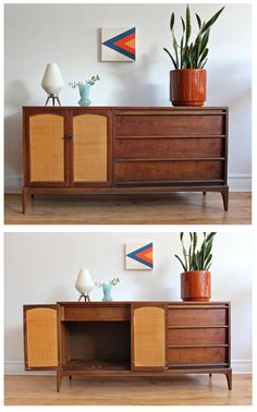 Mid Century Modern sideboard by Lane Furniture. Walnut veneer with reversible cabinet doors.