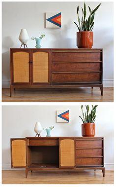 Mid Century Modern sideboard by Lane Furniture. Walnut veneer with reversible cabinet doors.