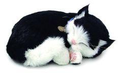 Perfect Petzzz Huggable Breathing Sleeping Plush Kitten Pet Cat Black & White Shorthair