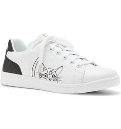 This throwback sneaker gets a modern update from an adorable graphic cat, a contrast heel and sporty stripes.