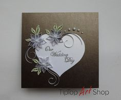 Quilled Wedding Handmade Greeting Card in Chocolate Brown by TipTopArtShop