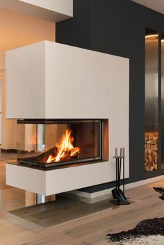 Kamine Panorama von Brunner Home contemporary fireplace design Home Fireplace, Faux Fireplace, Modern Fireplace, Living Room With Fireplace, Floating Fireplace, Interior Exterior, Interior Architecture, Contemporary Fireplace Designs, Chimney Decor