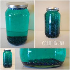 DIY Calming Jar. When your little ones need to calm down or simply needs a little break, have them shake this calming jar and instantly lift their mood. Glitter, clear Elmer's glue, hot water, and a few drops of food coloring. Done!