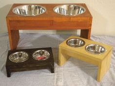 Items similar to Large Raised dog bowl, pet feeders, cat bowls, wood pet dishes, custom pet feeders on Etsy Raised Dog Feeder, Raised Dog Bowls, Dog Food Bowls, Pet Bowls, Cat Feeding Station, Dog Feeding, Feral Cat House, Pallet Dog Beds, Dog Bowl Stand