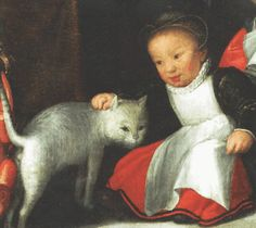 child and cat detail from Self-portrait with Family | Oil | Otto van Veen, 1556-1626,  also known by his Latinized name Otto Venius or Octavius Vaenius, was a painter, draughtsman, and humanist active primarily in Antwerp and Brussels in the late sixteenth and early seventeenth century.
