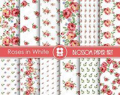 Digital Paper Pink Roses Digital Paper Pack by blossompaperart