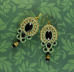 Ornamental Baroque Bead Embroidered Earrings by Nalamandra on Etsy Green Earrings, Drop Earrings, Soutache Earrings, Baroque Fashion, Spring Green, Chainmaille, Black Glass, Shades Of Green, Bag Accessories