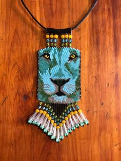 blue lion peyote beaded necklace