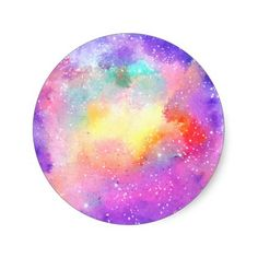 Hand painted pastel watercolor nebula galaxy stars classic round sticker