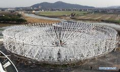 Radio telescope under construction in Shanghai - People's Daily Online Radio Astronomy, Weapon Of Mass Destruction, Space Program, Space Exploration, Under Construction, Telescope, Science Nature, Shanghai, Archaeology