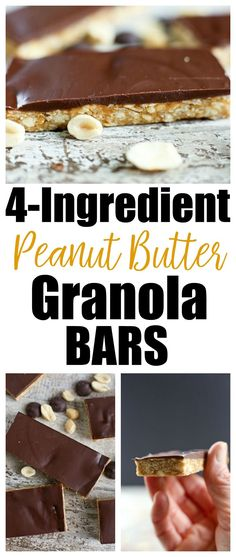 4-ingredient Peanut Butter Granola Bars with Chocolate {vegan, gluten-free} - Happy Healthy Mama
