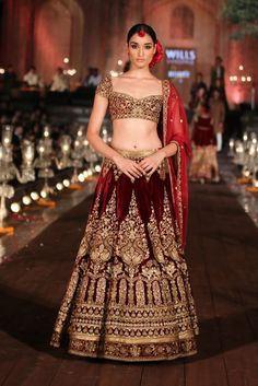 Red velvet gold embroidered lengha | JJ Valaya Garden of Flowers Fashion Runway Collection