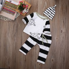 >> Click to Buy << 3pcs suit !!! Infant Kids Baby Boy Girl Clothes Tops + Pants + Hat autumn winter Outfits Set  #Affiliate