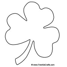Shamrock template for St. Patrick's Day crafts.