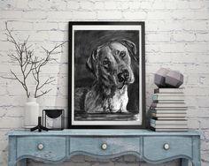 Black lab, Labrador drawing, Charcoal art print, Dog portrait, Labrador dog gift, Lab picture,dog……