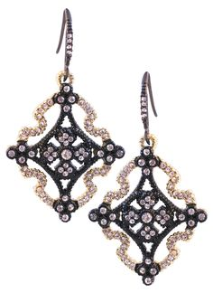 Hematite and satin gold dangling hook earrings featuring an open Textured Celtic Cross finished with crystal stone details 500E1913