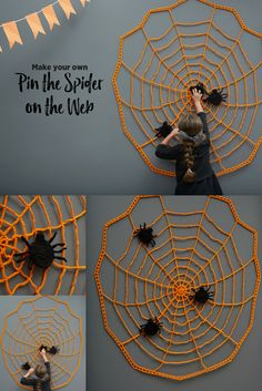 Crochet a Halloween wall decoration that can also provide a fun party game opportunity! Children (or adults) are blind folded and see who can pin the spider closest to the center of the web. Crochet Fall, Holiday Crochet, Crochet Home, Love Crochet, Crochet Motif, Crochet Crafts, Crochet Projects, Halloween Wall Decor, Fall Halloween