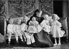 Princess Helen, Duchess of Albany with her first six grandchildren, from left: Prince Rupert of Teck, Princess Sibylla of Saxe-Coburg and Gotha, Prince Johann Leopold of Saxe-Coburg and Gotha, Prince Maurice of Teck, Prince Hubertus of Saxe-Coburg, and Gotha, and Princess May of Teck (the future Queen Mary - QEII's grandmother).