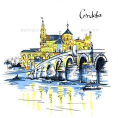 Mezquita and Roman Bridge in Cordoba Spain