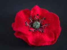 Felted pin, poppy flower, Red pin, wool accessory, SJR, felt Brooch