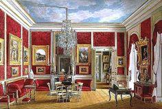 Salon des Chambellans de l'Impératrice (Dessin d'époque, ainsi que les cinq suivants).