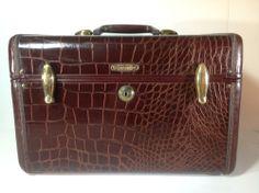Vintage Leather Faux Crocodile Pattern Train Case Luggage by Samsonite