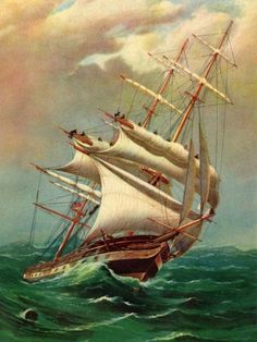 1842 Ocean Greyhound built in Quebec from the Original painting by Capt. N Henderson Ocean Sailing, Old Sailing Ships, Sailing Classes, Sea Storm, Ship Paintings, Ship Drawing, Boat Art, Nautical Art, Beautiful Ocean