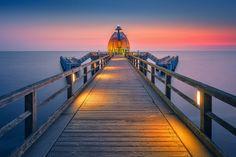 Tauchgondel zum Meeresboden (Sellin / Rügen), Ostsee      , Dämmerung, Küste, Seebrücke, Sellin, Sonnenaufgang