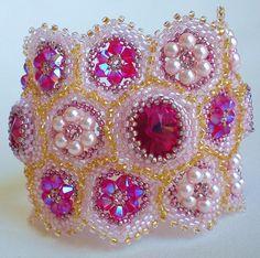 Rivoli Beadwoven Cuff Bracelet PInk Fuschia by SpringColors