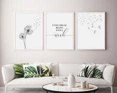 Dandelion Wall Art Set Of 3 Prints Dandelion Printable Office Wall Decor, Wall Art Decor, Nursery Decor, Bedroom Decor, Wall Art Bedroom, White Wall Decor, Bedroom Prints, Canvas Wall Decor, Modern Wall Decor
