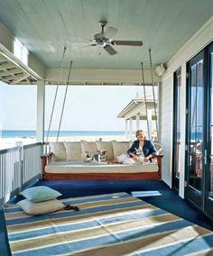 streifenteppich verands ideen für hängebett designs im freien