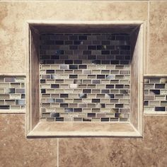 Loving this tile design in and around the bathroom shower recessed shelf - Miramar Mix with Glass Stone Mosaic Tile - 12 x 12 in. Diy Bathroom, Bathroom Remodel Shower, Shower Tile, Bathroom Makeover, Shower Stall, Small Bathroom, Amazing Bathrooms, The Tile Shop, Bathroom Redo