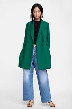 5a01ed902b ZARA - WOMAN - TEXTURED WEAVE COAT Fall Must Haves, Masculine Style, Green  Fashion