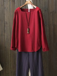 Vintage Women Square Neck Long Sleeve Embroidered Blouse