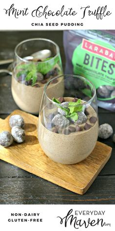 Mint Chocolate Chip Chia Seed Pudding. A healthy chia pudding that tastes like Mint Chip with a delicious crumble of Mint Chocolate Larabar…