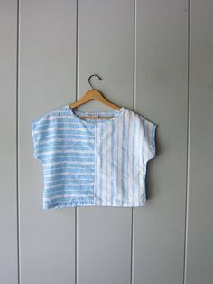 Your place to buy and sell all things handmade Summer Crop Tops, Beach Tops, Vintage Tops, Cap Sleeves, 1980s, Tees, Shirts, Blue And White, Cotton