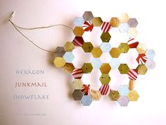 Michele made junkmail snowflake ornaments