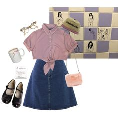 A fashion look from December 2014 featuring button-down shirts, denim skirt and black flats. Browse and shop related looks. Cute Fashion, Retro Fashion, Korean Fashion, Vintage Fashion, Outfits Inspiration, Outfit Ideas, Pretty Outfits, Cool Outfits, Cute Christmas Outfits