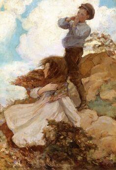 Jessie Willcox Smith - Two Children on a Windswept Hillside