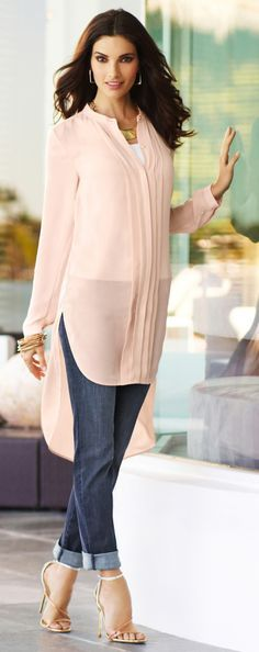 Great lengths: Who knew pink could cause such a stir? Pleating details and a high-low hem add drama. DestinationFabulous BlackLabel travel spring chicos