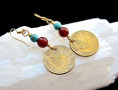 Vintage 5 cents Mexican coins earrings Independence earrings
