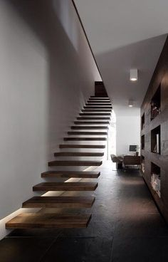 Wood suspended Stairs modern