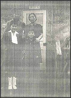 """The Yasutake family poses in front of their family's barracks """"apartment C."""" A soldier is visiting while on leave from the army. Human Dignity, Rosa Parks, Family Posing, Presentation, Army, Poses, Pictures, Painting, Gi Joe"""